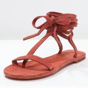 Free people dahlia sandals burnt red leather sz 8